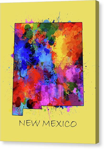 New Mexico Map Canvas Print - New Mexico Map Color Splatter 4 by Bekim Art