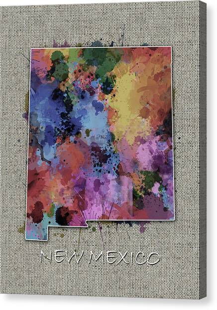 New Mexico Map Canvas Print - New Mexico Map Color Splatter 5 by Bekim Art
