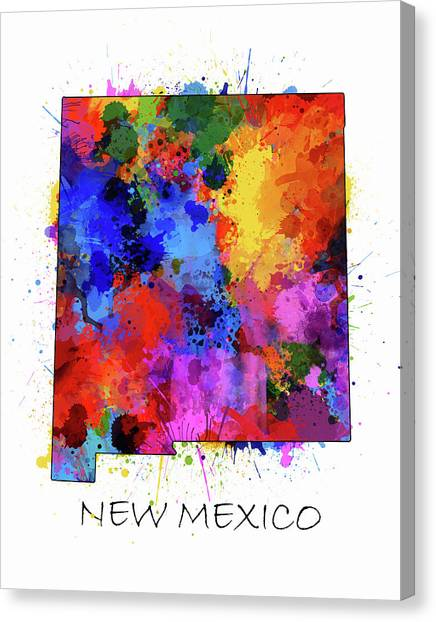 New Mexico Map Canvas Print - New Mexico Map Color Splatter  by Bekim Art
