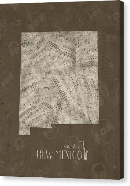 New Mexico Map Canvas Print - New Mexico Map Music Notes 3 by Bekim Art