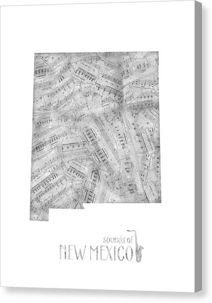 New Mexico Map Canvas Print - New Mexico Map Music Notes by Bekim Art