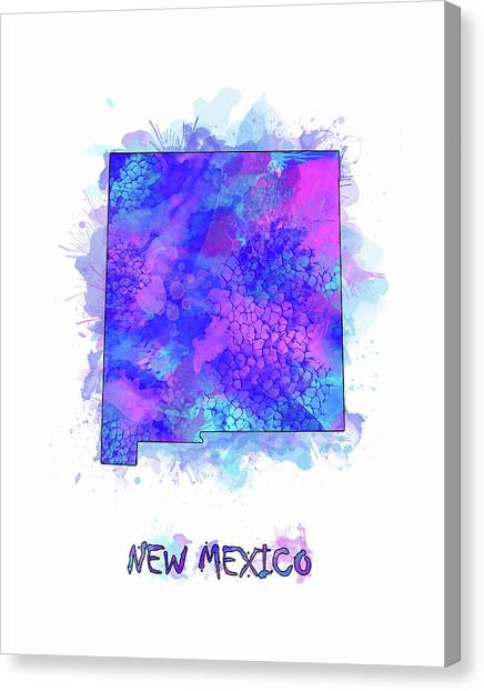 New Mexico Map Canvas Print - New Mexico Map Watercolor 2 by Bekim Art