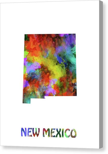 New Mexico Map Canvas Print - New Mexico Map Watercolor by Bekim Art