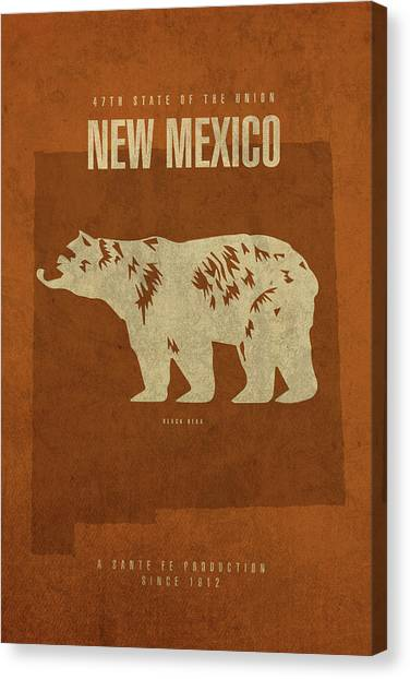 New Mexico Map Canvas Print - New Mexico State Facts Minimalist Movie Poster Art by Design Turnpike