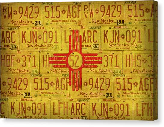 Nm Canvas Print - New Mexico State Flag Vintage License Plate Art by Design Turnpike