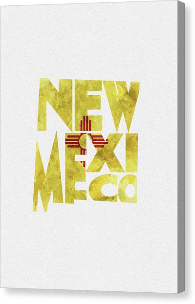 New Mexico Map Canvas Print - New Mexico Typographic Map Flag by Inspirowl Design