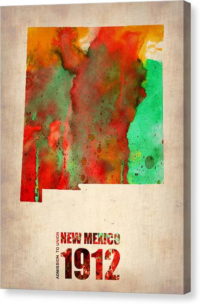 Mexican Canvas Print - New Mexico Watercolor Map by Naxart Studio