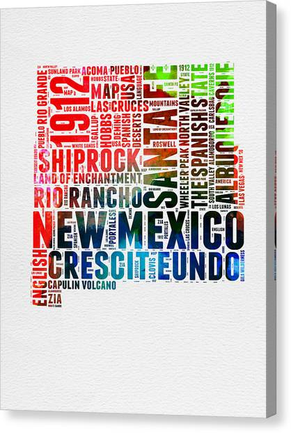 Mexican Canvas Print - New Mexico Watercolor Word Map by Naxart Studio