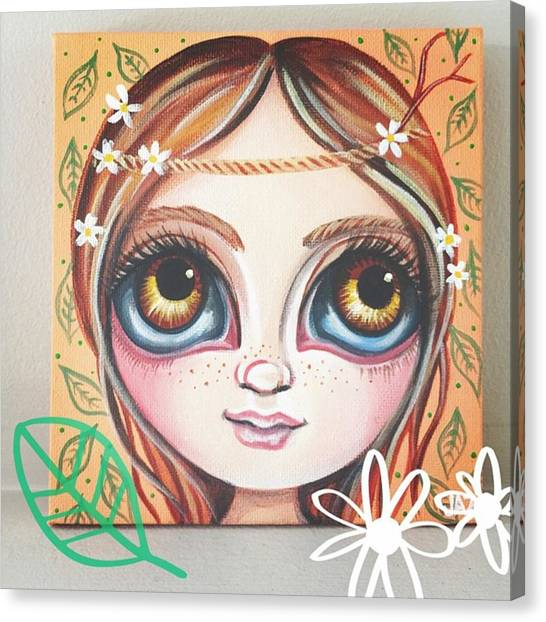 Florals Canvas Print - New Mini Painting - daisies In Her by Jaz Higgins