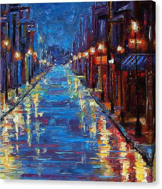 Streets Canvas Print - New Orleans Bourbon Street by Debra Hurd