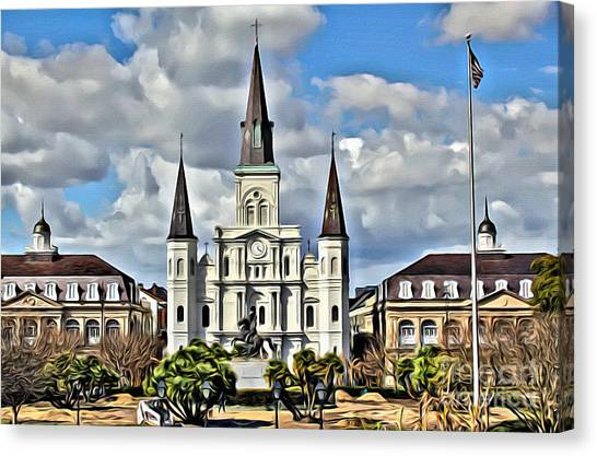 Bayous Canvas Print - New Orleans Church by Carey Chen