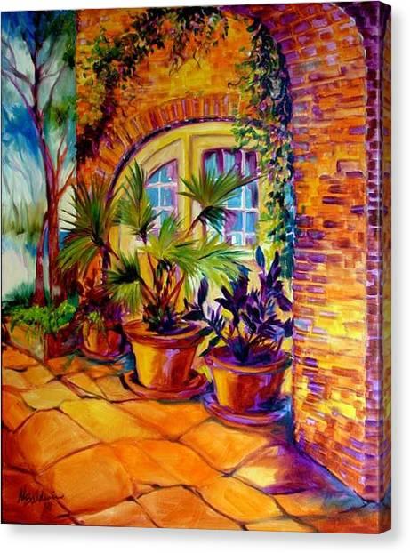 New Orleans Courtyard By M Baldwin Canvas Print by Marcia Baldwin