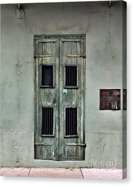 New Orleans Green Doors Canvas Print