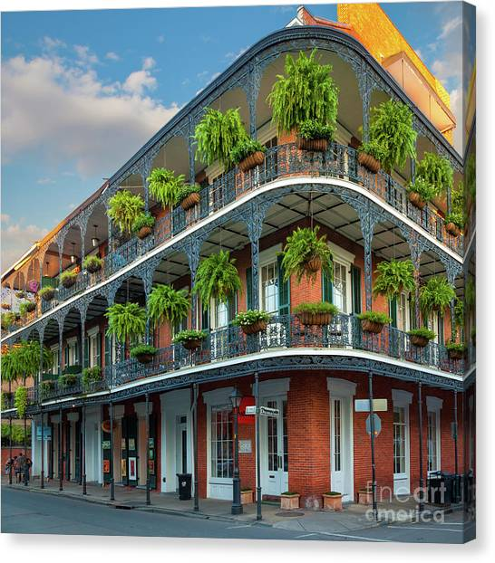 Mardi Gras Canvas Print - New Orleans House by Inge Johnsson