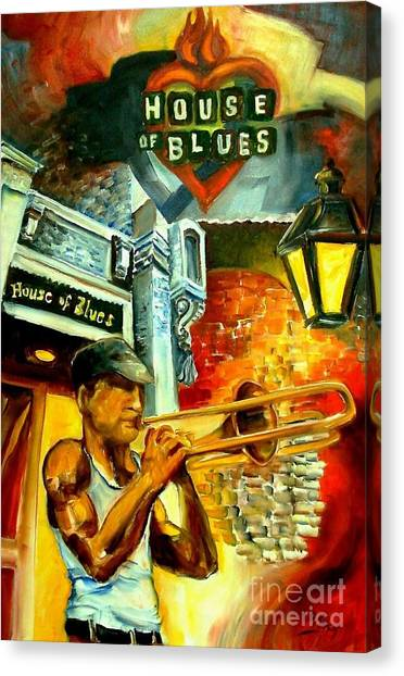Trombones Canvas Print - New Orleans' House Of Blues by Diane Millsap