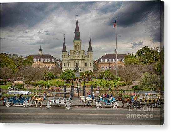 Canvas Print featuring the photograph New Orleans Jackson Square by Ron Sadlier