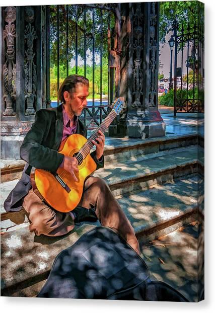 Classical Guitars Canvas Print - New Orleans Musician - Chris Craig - Paint by Steve Harrington