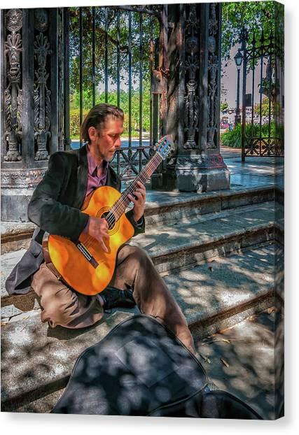Classical Guitars Canvas Print - New Orleans Musician - Chris Craig by Steve Harrington