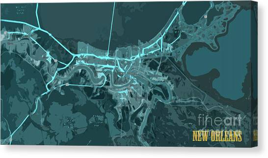 Arte Canvas Print - New Orleans Old Map Abstract Blue by Drawspots Illustrations