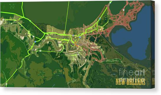 Arte Canvas Print - New Orleans Old Map Green Abstract by Drawspots Illustrations