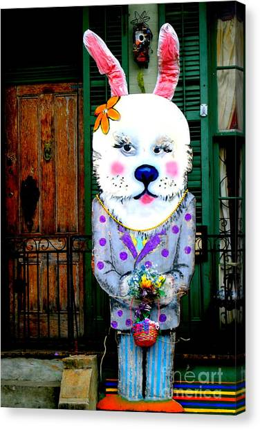 Easter Baskets Canvas Print - New Orleans Peter Rabbit At The Door by Michael Hoard