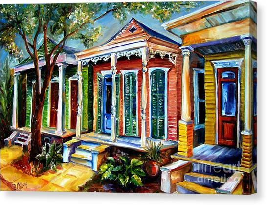 Shotguns Canvas Print - New Orleans Plain And Fancy by Diane Millsap