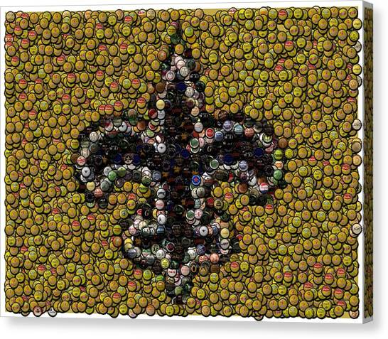 Drew Brees Canvas Print - New Orleans Saints  Bottle Cap Mosaic by Paul Van Scott