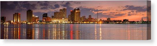 City Sunsets Canvas Print - New Orleans Skyline At Dusk by Jon Holiday