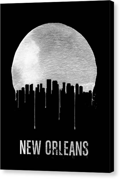 New Orleans Canvas Print - New Orleans Skyline Black by Naxart Studio