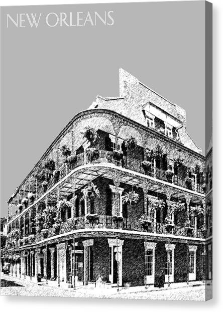 Mardi Gras Canvas Print - New Orleans Skyline French Quarter - Silver by DB Artist
