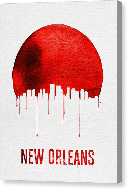 New Orleans Canvas Print - New Orleans Skyline Red by Naxart Studio