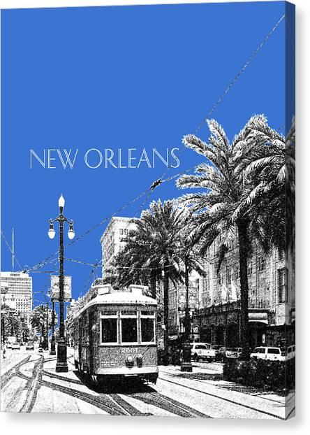 Mardi Gras Canvas Print - New Orleans Skyline Street Car - Blue by DB Artist