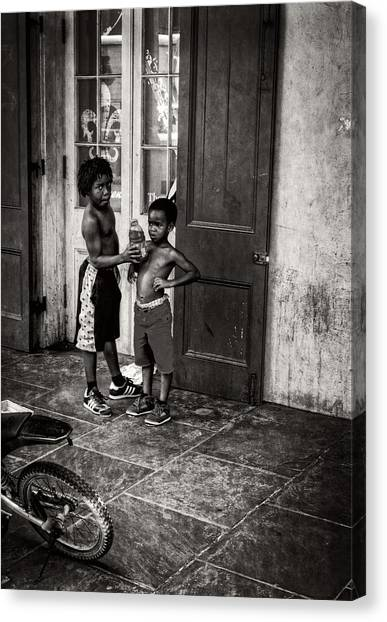 New Orleans Tap Dancers In Black And White Canvas Print