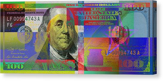 Still Life Canvas Print - New Pop-colorized One Hundred Us Dollar Bill by Serge Averbukh