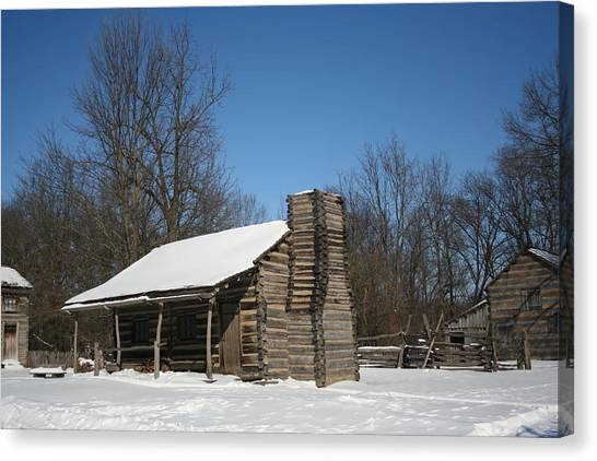 New Salem Winter Home Canvas Print by Gregory Jeffries