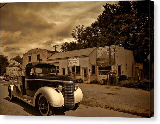 New Shop Tow Truck Canvas Print