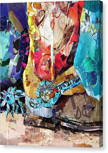 Torn Paper Collage Canvas Print - New Spurs by Suzy Pal Powell