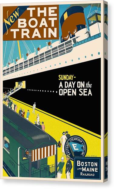 Cruise Ships Canvas Print - New The Boat Train - A Day On The Open Sea - Retro Travel Poster - Vintage Poster by Studio Grafiikka