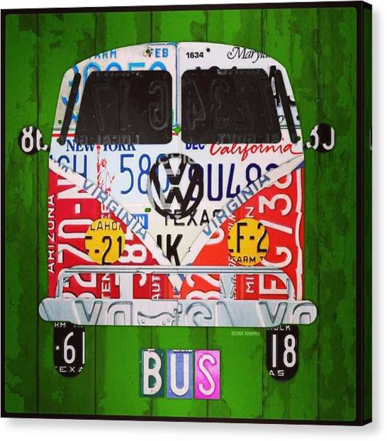 Vw Bus Canvas Print - New #vw License Plate Art Series Out On by Design Turnpike