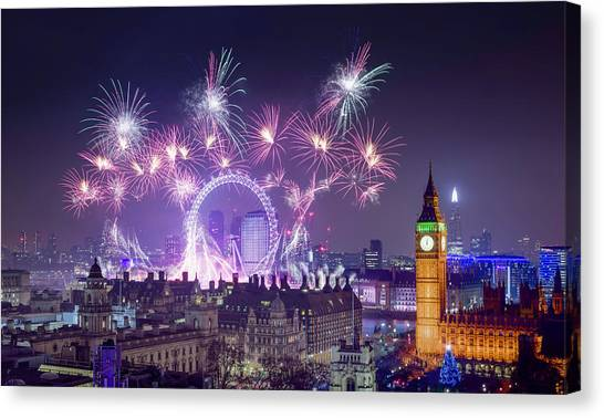 New Year Fireworks London Canvas Print
