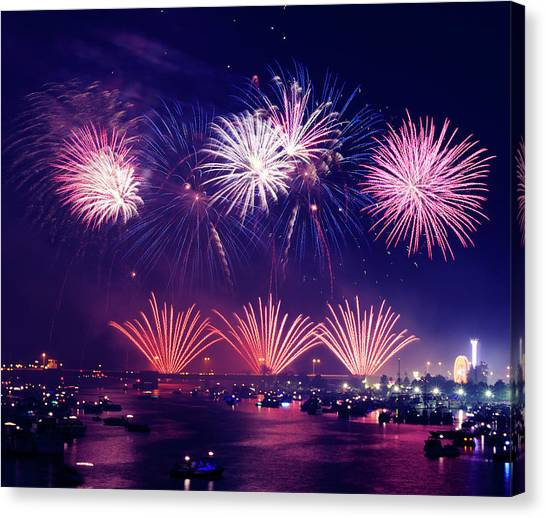 Fireworks Canvas Print - New Year's Eve by Aaron Burden