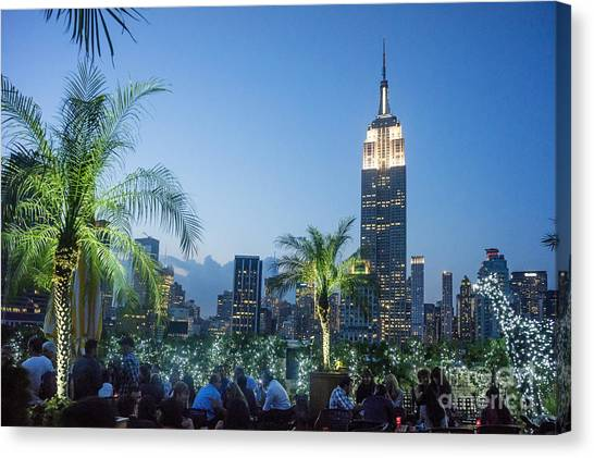 Canvas Print featuring the photograph New York 230 Fith Rooftop Bar  by Juergen Held
