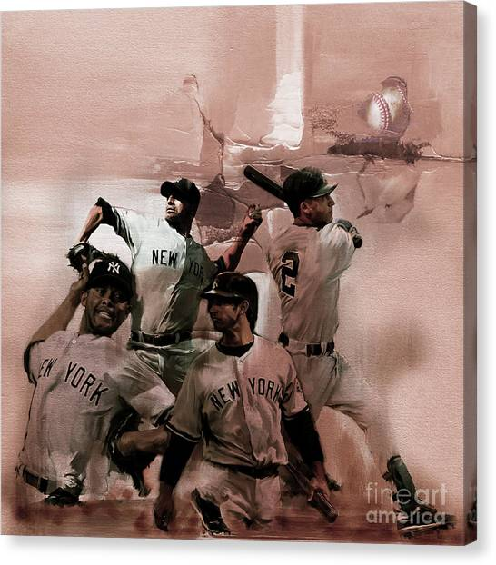Mickey Mantle Canvas Print - New York Baseball  by Gull G