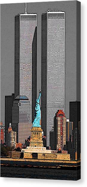New York 911 Memory - Twin Towers And Statue Of Liberty Canvas Print