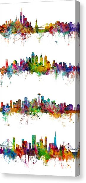 New York Skyline Canvas Print - New York, Philadelphia, Seattle And San Francisco Skylines by Michael Tompsett