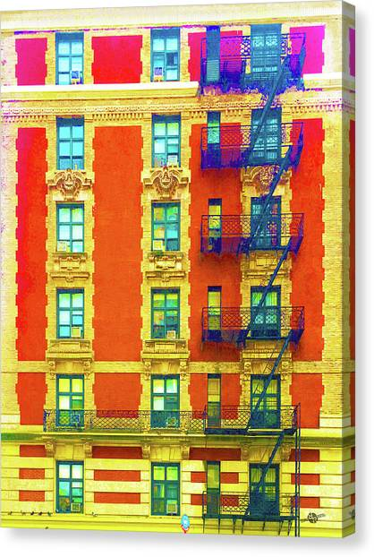 Pre-modern Art Canvas Print - New York City Apartment Building 3 by Tony Rubino