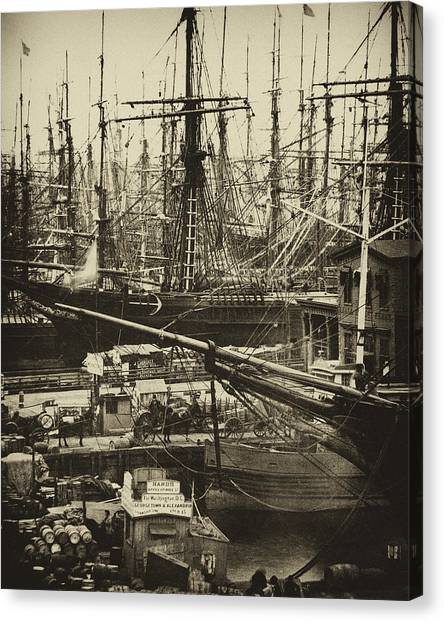 New York City Docks - 1800s Canvas Print