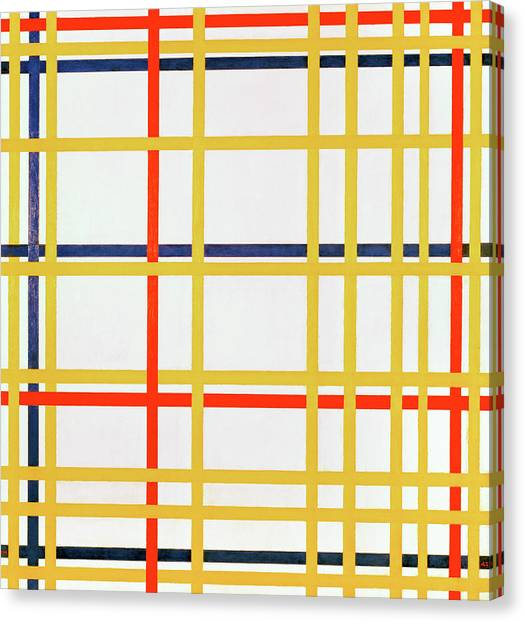 De Stijl Canvas Print - New York City I by Piet Mondrian