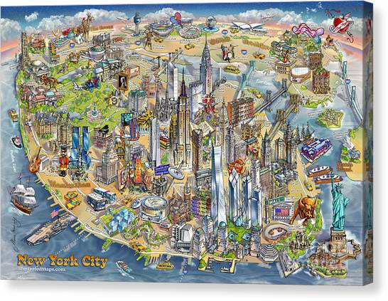 Liberty University Canvas Print - New York City Illustrated Map by Maria Rabinky