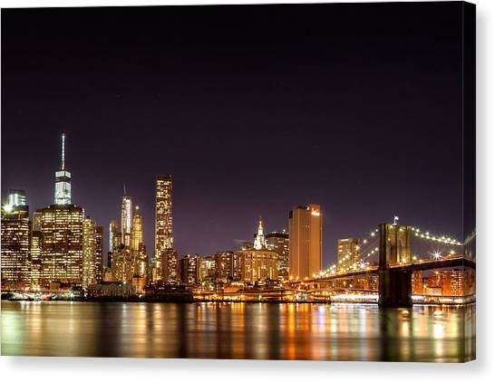 Futurism Canvas Print - New York City Lights At Night by Az Jackson